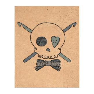 Crochet Skull Blue Cork Paper Prints