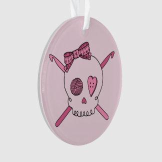 Crochet Skull (Pink Back) Ornament
