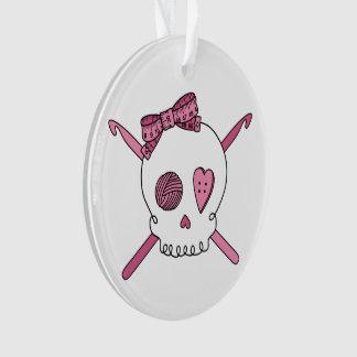 Crochet Skull (Pink) Ornament