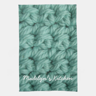 Crochet Stitches in Blue Towel