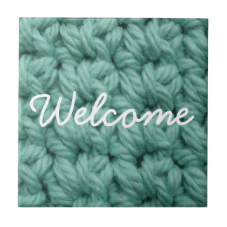 Crochet Stitches in Blue Tile