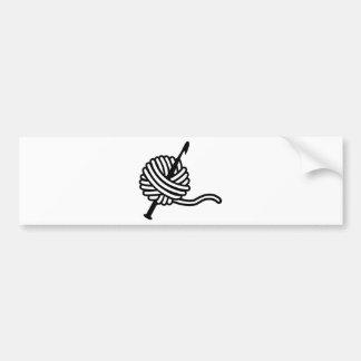 Crochet wool car bumper sticker
