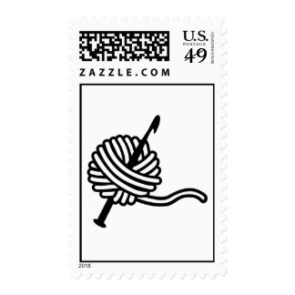 Crochet wool postage stamps
