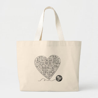 Crochet Words Tote Large (BW) Tote Bags