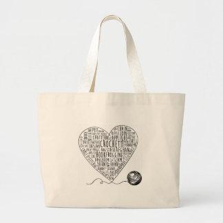 Crochet Words Tote Large (BW) Jumbo Tote Bag