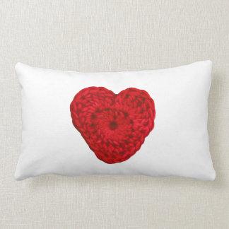 Crochet Yarn Heart Handmade Crafts Pillow