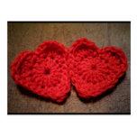 Crochet Yarn Hearts on Wood Handmade Postcard