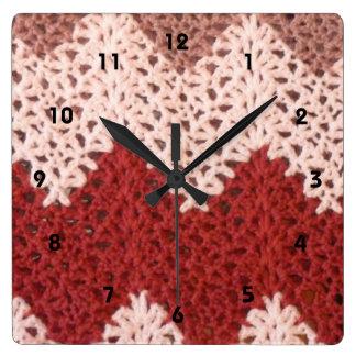 Crocheted Chevron Square Wall Clock