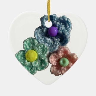 Crocheted Flowers Haekel Blumen Ceramic Ornament
