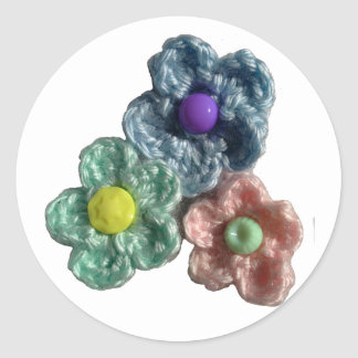 Crocheted Flowers Haekel Blumen Classic Round Sticker