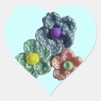 Crocheted Flowers Haekel Blumen Heart Sticker