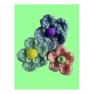 Crocheted Flowers Haekel Blumen Postcard