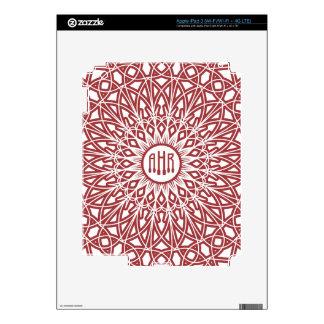 Crocheted Lace Monogram iPad Skin - Brick Red
