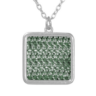 Crocheted-Look Square Pendant Necklace