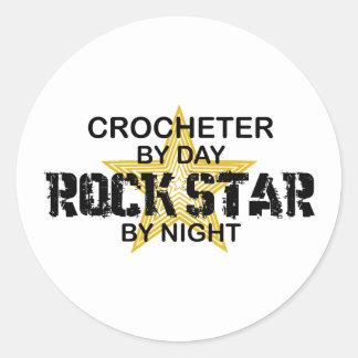 Crocheter by Day, Rock Star by Night Classic Round Sticker