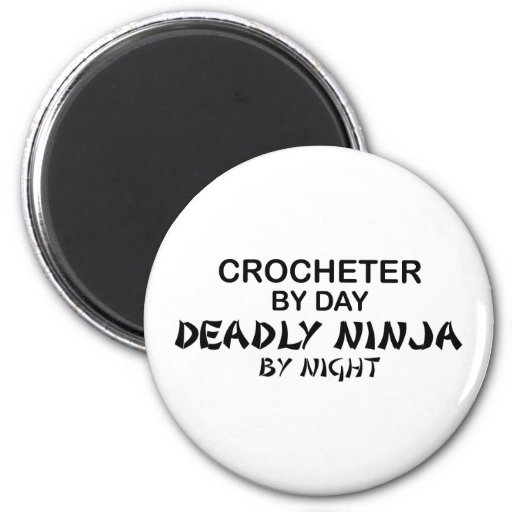 Crocheter Ninja mortal por noche Imán Redondo 5 Cm