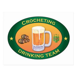 Crocheting Drinking Team Postcard