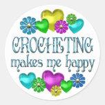 Crocheting Happiness Classic Round Sticker