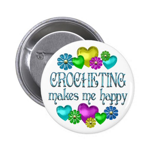 Crocheting Happiness Pinback Buttons