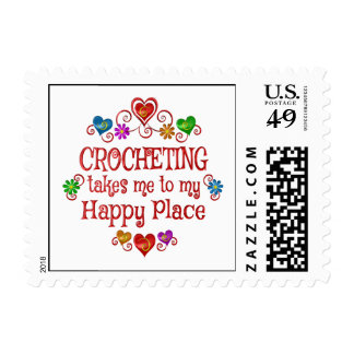 Crocheting Happy Place Postage Stamp