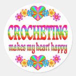 Crocheting Heart Happy Classic Round Sticker