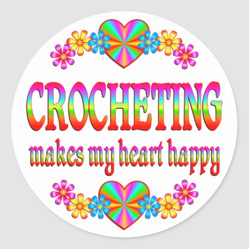 Crocheting Heart Happy Classic Round Sticker
