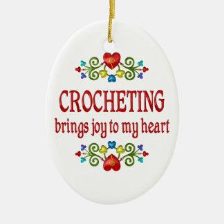 Crocheting Joy Double-Sided Oval Ceramic Christmas Ornament