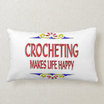 Crocheting Makes Life Happy Throw Pillow
