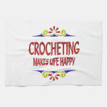 Crocheting Makes Life Happy Towels