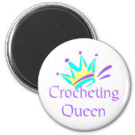 Crocheting Queen T-shirts and Gifts. 2 Inch Round Magnet