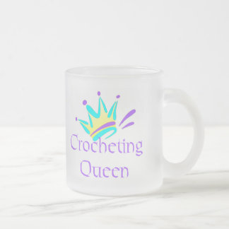 Crocheting Queen T-shirts and Gifts. Frosted Glass Coffee Mug
