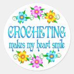 Crocheting Smiles Classic Round Sticker