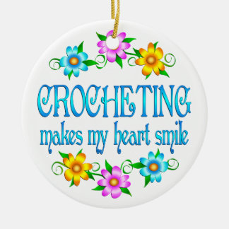 Crocheting Smiles Double-Sided Ceramic Round Christmas Ornament