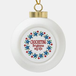 Crocheting Stars Ceramic Ball Christmas Ornament