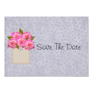 Crock Of Peonies Save The Date Card