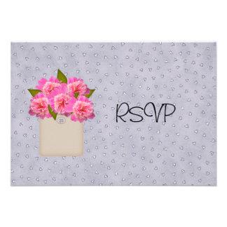 Crock Of Peonies Wedding Reception RSVP Custom Announcements