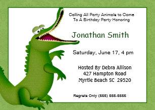 With alligator birthday invitations zazzle crocodilealligator birthday invitation filmwisefo