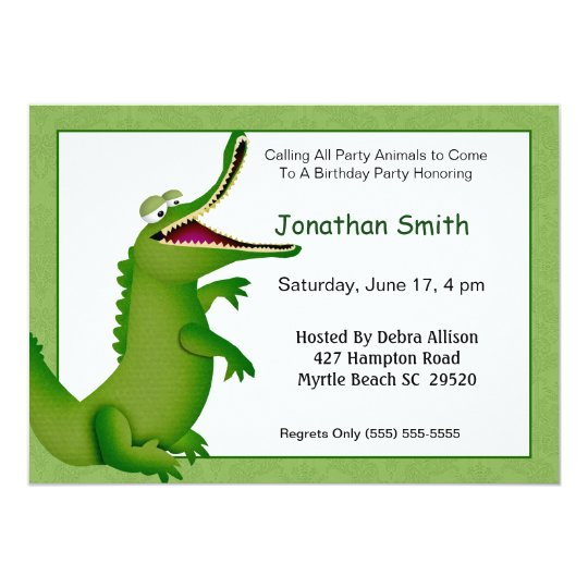 Crocodilealligator birthday invitation zazzle crocodilealligator birthday invitation filmwisefo