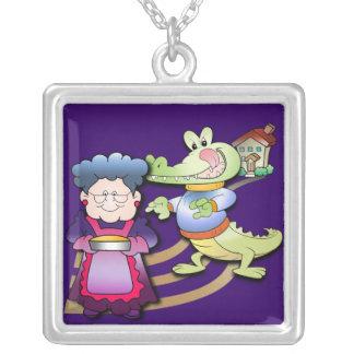 Crocodile and Pie Square Pendant Necklace