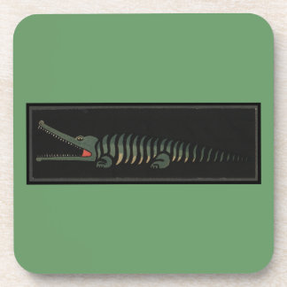 Crocodile - Antiquarian Colorful Book Illustration Beverage Coaster