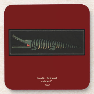 Crocodile - Antiquarian Colorful Book Illustration Coaster