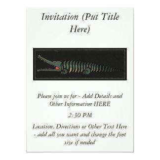 Crocodile - Antiquarian Colorful Book Illustration 6.5x8.75 Paper Invitation Card