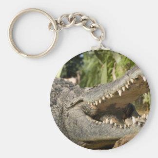 crocodile basic round button keychain