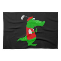 Crocodile Cartoon Golfer on Kitchen & Sports Towel