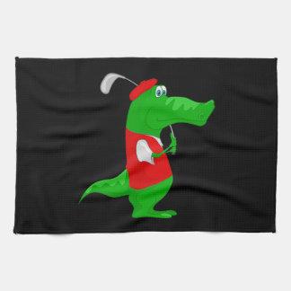 Crocodile Cartoon Golfer on Kitchen & Sports Towel