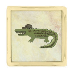 Crocodile Cool Gold Finish Lapel Pin