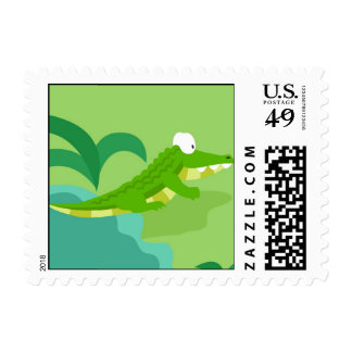Crocodile from my world animals serie postage stamp
