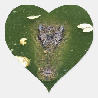 Crocodile green swamp heart sticker