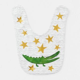 Crocodile Hollywood Star Shiny  Gold Baby Bib