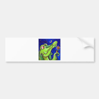 Crocodile In Love With The Moon Bumper Sticker